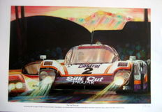 "Fine Art Print - ""The Cat Pounces"" "" - Silk Cut Jaguar XJR-9LM - Lammers/Dumfries/Wallace - Le Mans 1988 (Winner)"