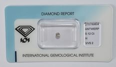 0.12 ct brilliant cut diamond, H, VVS2