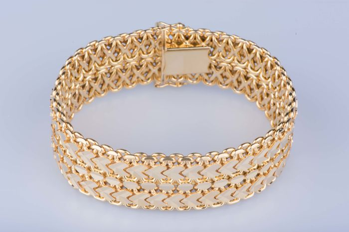 Handmade strap in 18 kt yellow gold – Approx. 18.5 cm