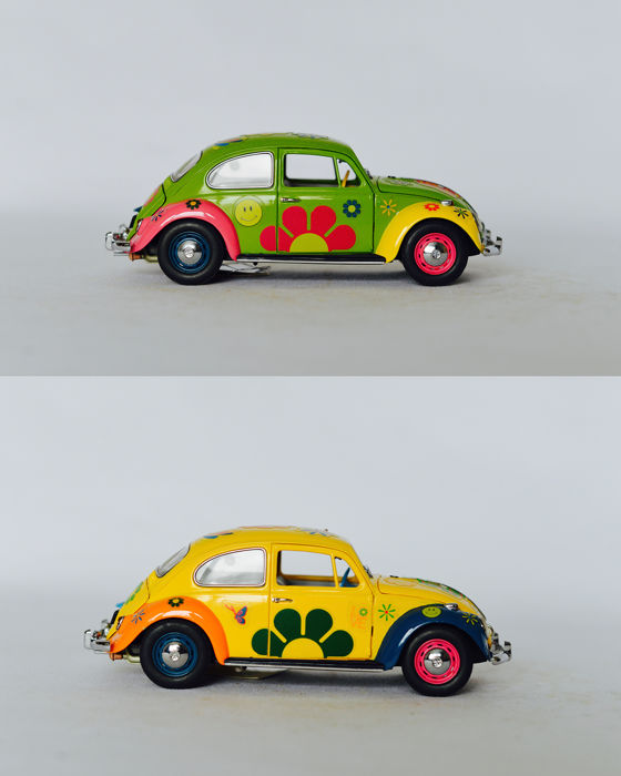 Franklin Mint - Schaal 1/24 - 2 x 1967 Volkswagen Beetle 'Love Bug'