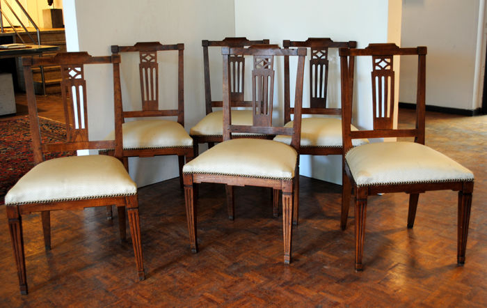 A set of six Louis XVI Elm wood chairs - The Netherlands or Belgium - circa 1800