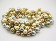 Isaac Mizrahi - Designer  Faux pearl cluster necklace with Austrian crystals