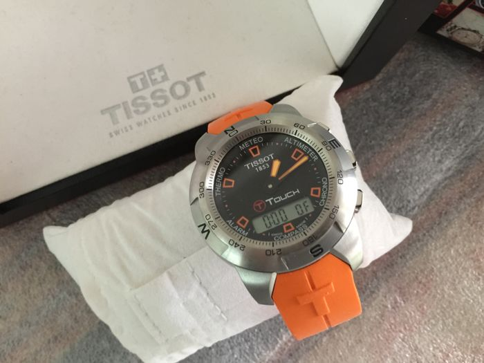 Tissot T Touch T33 Orange with Box and Papers New old Stock (NOS) full set