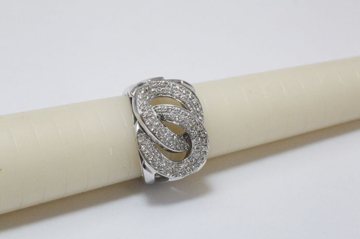 White gold women's ring with diamonds - 1.60 ct in total - size 15