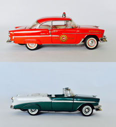 Franklin Mint - Scale 1/24 - 1955 Chevrolet Bel Air Fire Chief Special & 1956 Chevrolet Bel Air Convertible