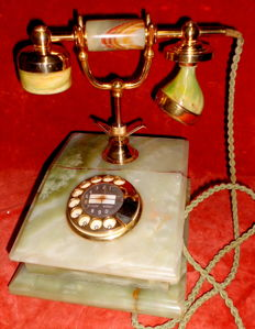 Vintage phone, nostalgia look, marble and brass, Germany 1984