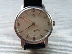 Omega oversize vintage steel mechanically wound with small second hand