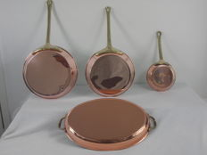 3 red copper pans/skillets + copper oven dish