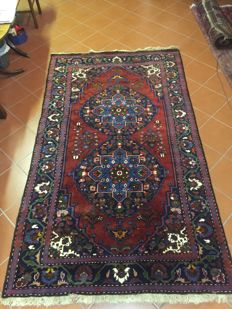 Authentic Karabagh; Armenia, circa 1960; Ghiordes knot; hard-wearing wools, shiny and soft; fine colours Dimensions:  162 x 278 cm 4.50 square metres
