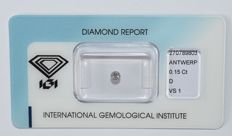 0.15 ct brilliant cut diamond, D VS1