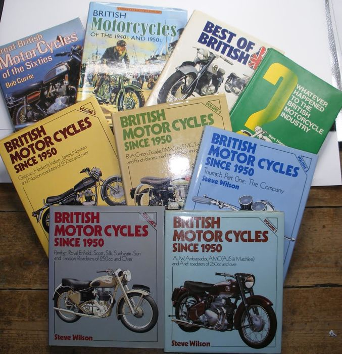 British Motorbikes: Collection of 9 British motorcycle books. Mainly from the 80's.