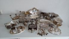 Large collection of over 40 silver plated objects.