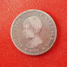 Alfonso XIII – 1 peseta silver coin from the year 1889 – Very scarce
