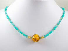 Sea green Jade necklace with yellow Sapphires and Amber, 44 cm length, 18 kt gold clasp and balls