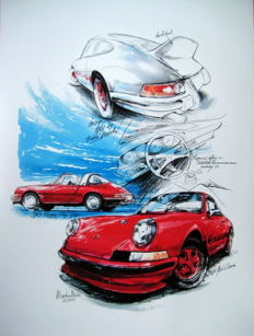 Porsche 911 Carrera Red (1963) - Giclee Art Poster - Limited Edition of 1/100 prints