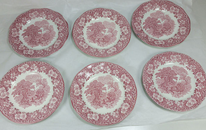 "Six Red & White Vintage plates by Enoch Wedgwood,""Woodland"" model"