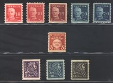 Sweden - 1920 - Selection of series from the period - Facit 2017 catalogue numbers: 139 + 140A/148C + 149A/C + 153/55