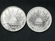 Mexico - - 8 Reales - 1878-94 - Mexico City and Zacatecas mint( Lot of 2 coins)silver