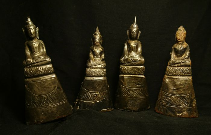 Lot of Four Buddhas- Silver, Resin/Clay- Thailand - 19th century