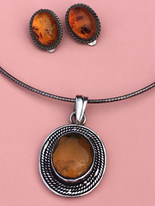 Vintage Baltic Amber and silver set: clip earrings and large necklace with honey Amber pendant,  ca. 1960's