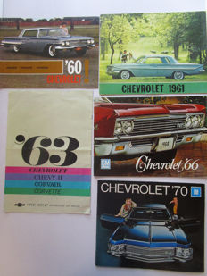 Chevrolet - Lot of 5 original brochures for the models Impala / Bel Air / Corvair / Station wagons / Biscayne / Chevy / Caprice / Corvette / Chevelle / Monza / Nova - from 1960 to 1970