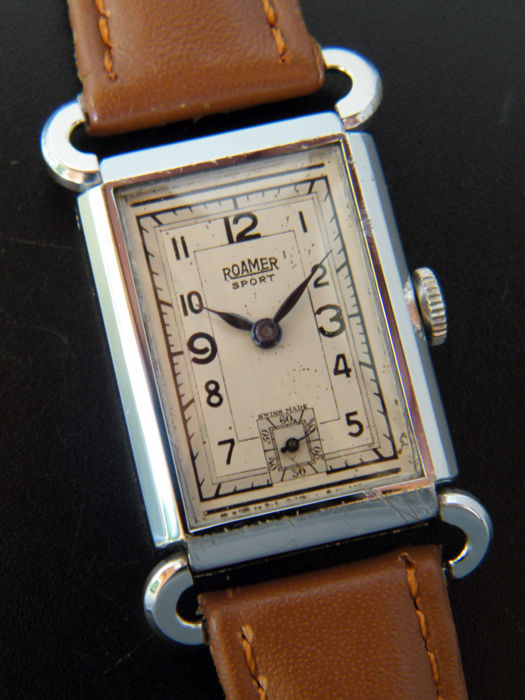 ROAMER SPORT - Very Rare Art Deco men's wristwatch from 1930s - Swiss made.