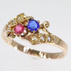 Typical Victorian gold ring with original stones and pearls - ca. 1880
