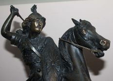 Warrior on horseback - patinated bronze sculpture - France - 19th century