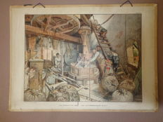 """Original and well known old school poster by Cornelis Jetses of  a corn mill """"of grains into flour - September coolness exploited"""""""