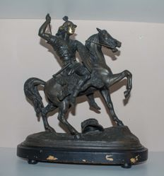 Warrior on horseback-patinated bronze sculpture-France, 19th century