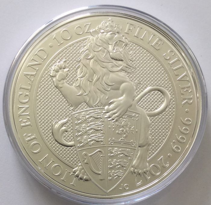 Great Britain - 10 Pounds 2017 'The Queen's Beasts - Lion of England' - 10 oz silver