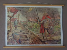 "Two beautiful history school posters ""The Normans for Dorestad"" and ""the Hunnebedbouwers"""