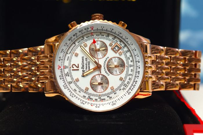Krug Baumen Air Traveller ROSE GOLD Black Dial with 8 Diamonds Watch