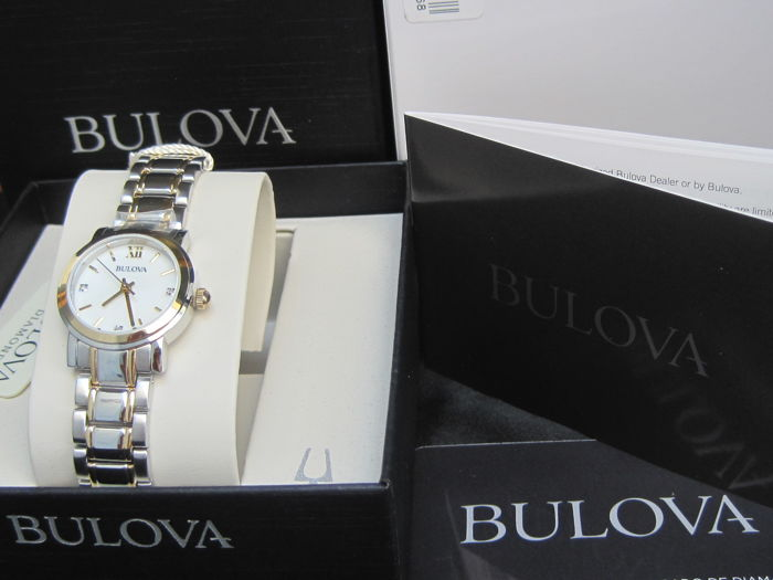 Bulova  Diamonds Women's Watch Two Tone Mother of pearl Dial  98P165
