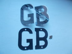 vintage  chrome GB letters with fixings  pins , nuts and rubber  back plates   all   original rare