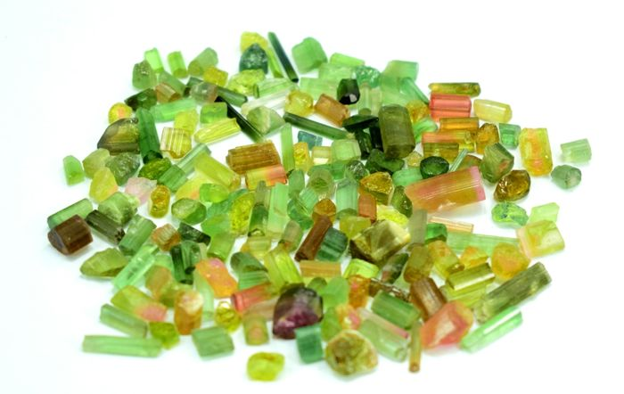 Mixed Colors Watermelon , Pinkish , Green Natural Tourmaline Crystals Rough - 50 gr