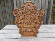 Hand carved Dutch wooden coat of arms 1st half 20th century