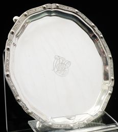 Silver Card Tray with Celtic Knot Border, Sheffield 1937, Brook & Son