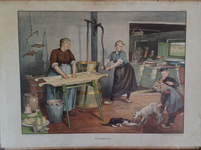 "Original and very well known old school poster by Cornelis Jetses ""Butter preparation"""