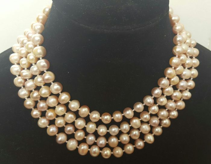 XL necklace composed of freshwater pearls — Length: 176 cm — 8 mm pearls