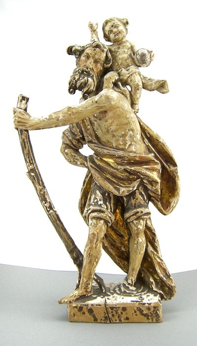 Big and antique sculpture - early 18th century - Saint Christopher with Jesus - made of wood