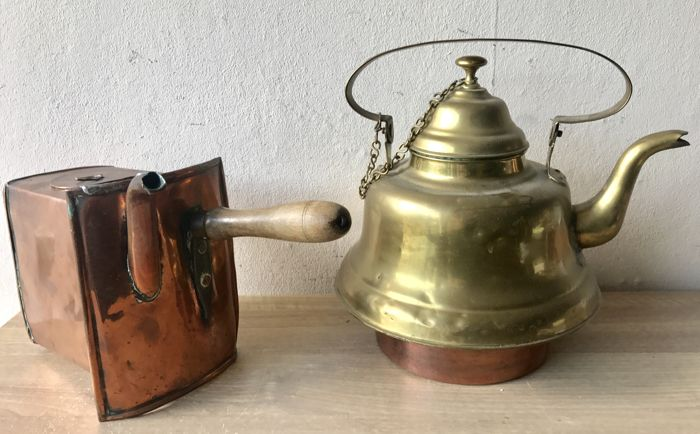 Very large antique copper water kettle and a brass plug boiler ...