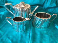 Heavy plate ESPN SILVER TEA SET David Bingham & Sons circ 1880