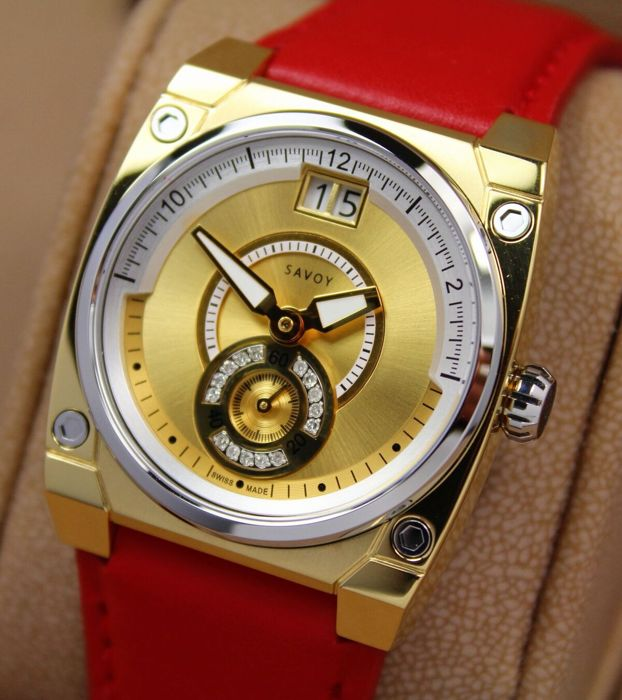 Savoy lady ICON Petite - Swiss Made - Yellow Gold IP - Diamond Dial Watch - New & Mint Condition