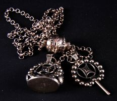 Antique silver chatelaine signet and pocket watch key.