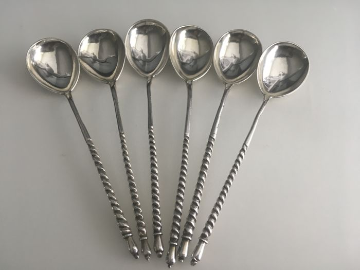 Vintage solid silver Russian set of six tea / dessert spoons with spiral handles circa 1881 maker P.A