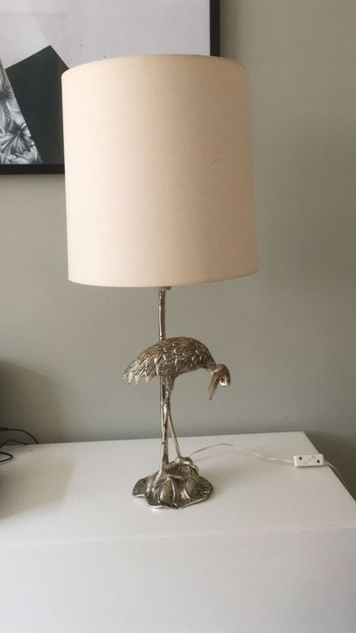 Onbekende designer - Silver plated heron table lamp