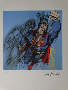 DC Comics Superman Lithograph By Andy Warhol - Numbered With Printed Signature