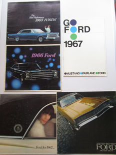 Ford - Lot of 5 original brochures for Mustang / Galaxy / Custom / Ltd / Fairlane / XL / Wagons - from 1965 to 1968