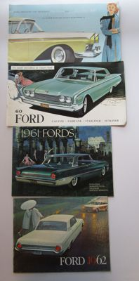 Ford - Lot of 4 catalogues for Fairlane / Galaxie / Starliner / Sunliner / Station wagons / Ranch / Country - from 1957 to 1962